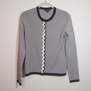 Ann Taylor Houndstooth Crew Neck Cardigan NEW S